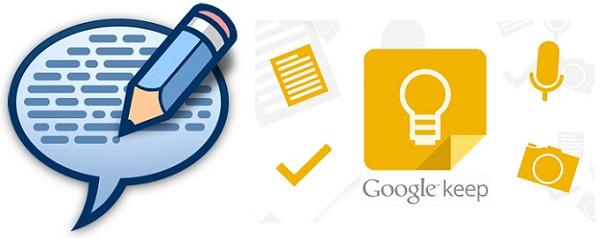 Запись текста приложением Google Keep