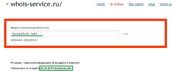 Узнать IP-адрес сайта
